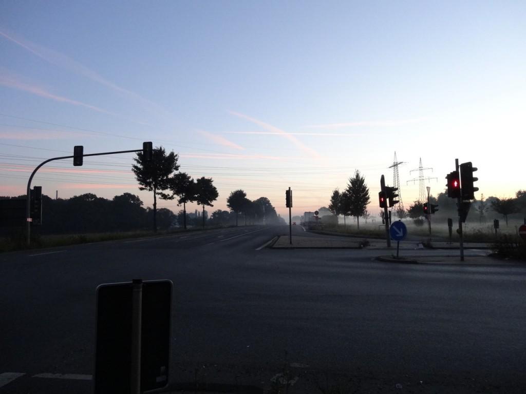 La brume sur la route au petit matin
