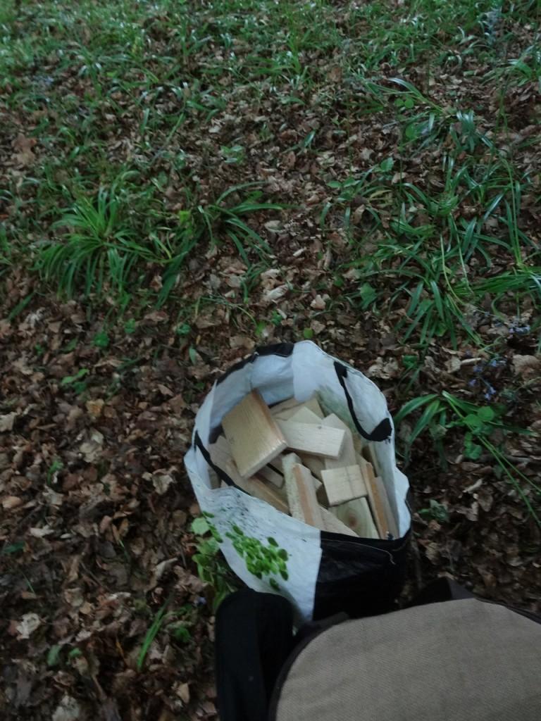 le sac de lamelles de bois