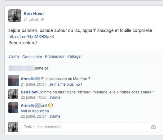 Conversation sur Facebook avec Armelle
